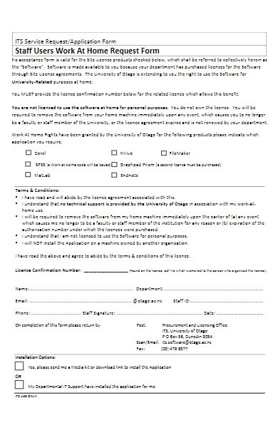 staff work at home request form