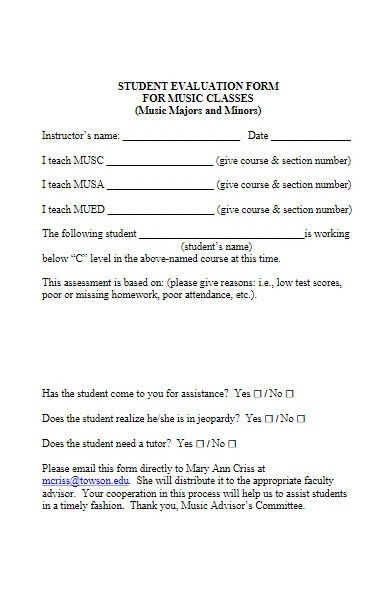 student evaluation form for music classes