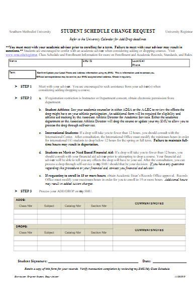 student schedule request change form
