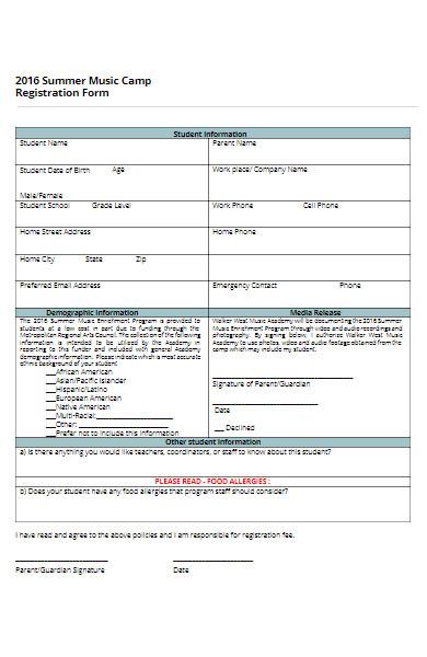 summer music camp registration form