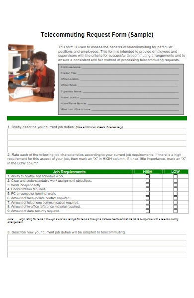 telecommuting work from home request form