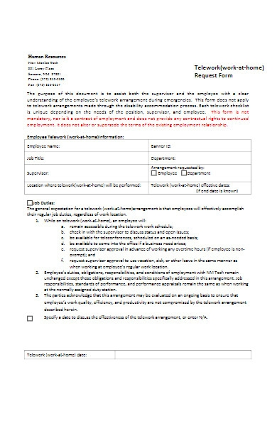 telework work at home requesst form