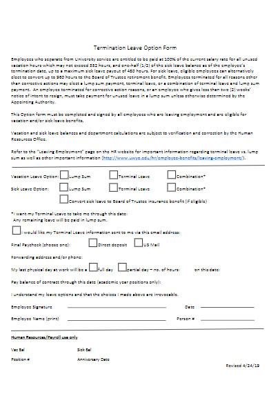 termination leave option form