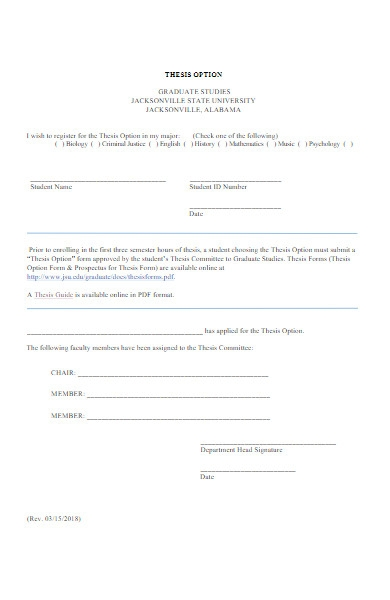 thesis option form
