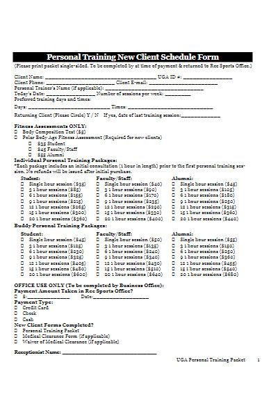training client schedule form