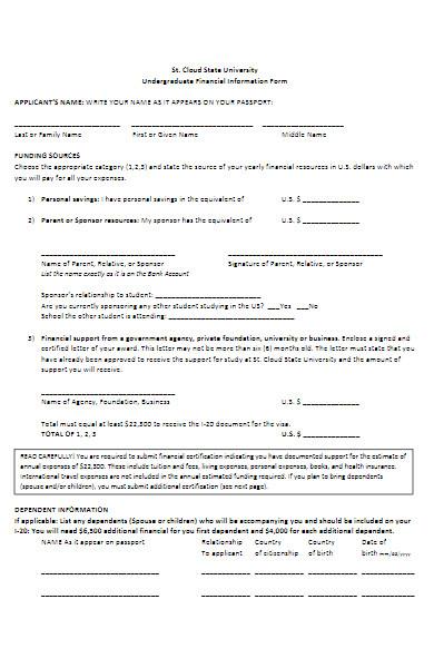 undergraduate financial information form
