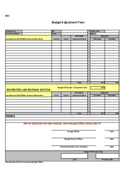 university budget adjustment form