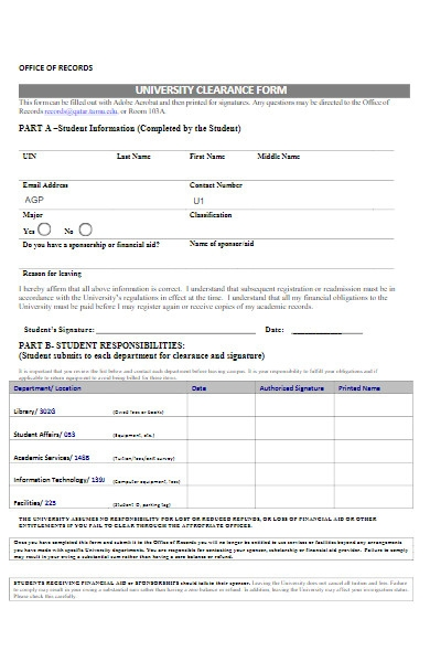 university clearance form
