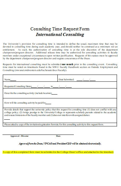 university consulting time request form