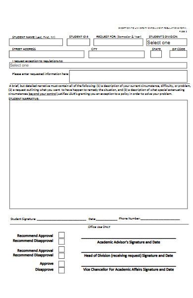 university enrollment regulations form