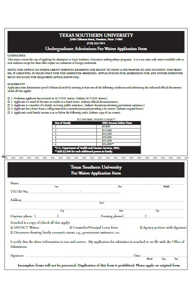 university fee waiver application form