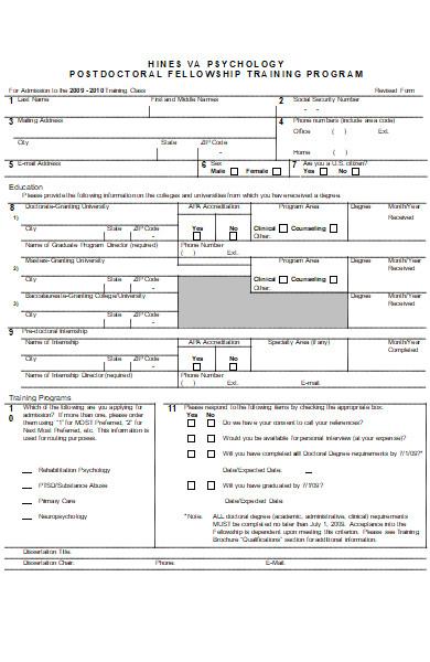 university fellowship application form