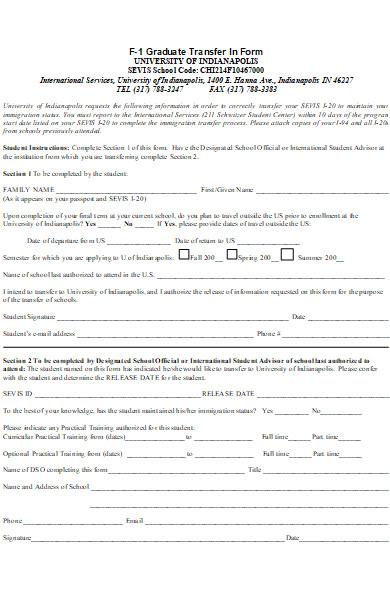 university graduate transfer form