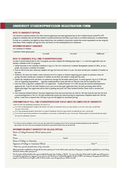 university professor registration form