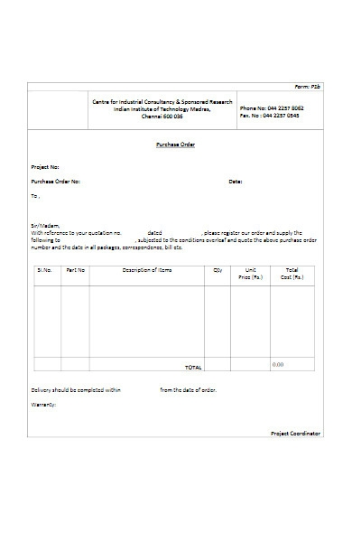 university purchase order form