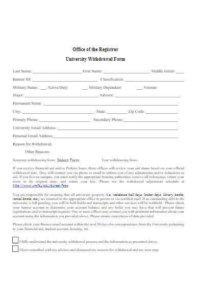 university revised withdrawal form