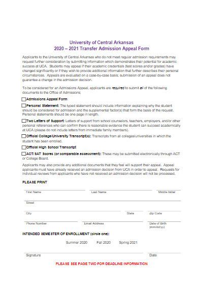 university transfer admission appeal form