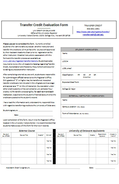 university transfer credit evaluation form