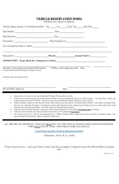 university vehicle reservation form