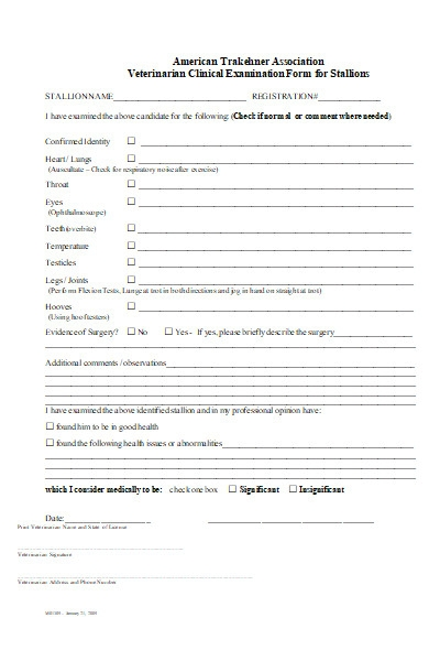 veterinarian clinical examination form