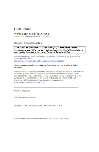 work form horm request and authorization form