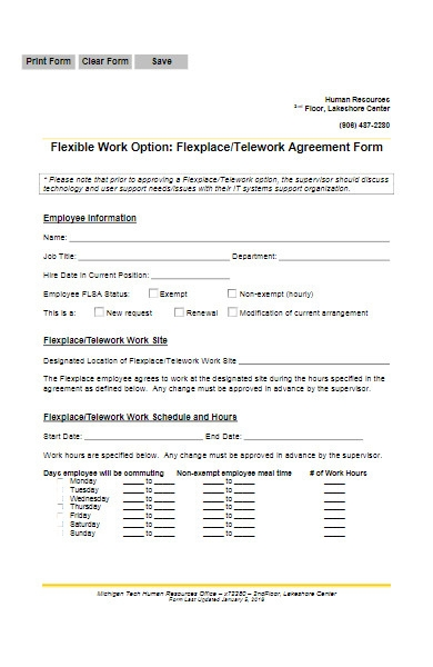 work from home agreement form