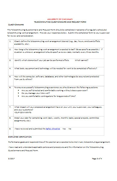work from home questionnaire request form