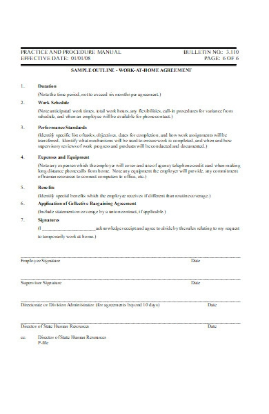 work at home agreement form