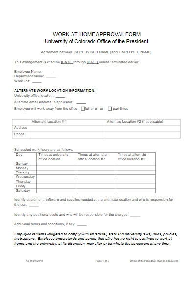 work at home approval form