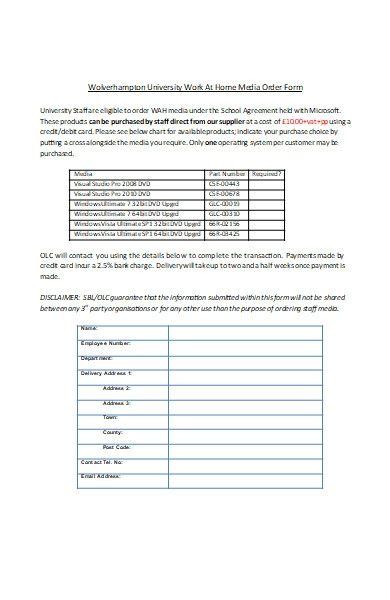 work at home media order form