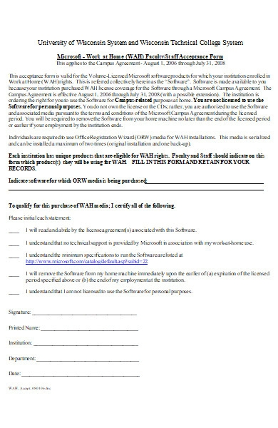 work at home staff acceptance form