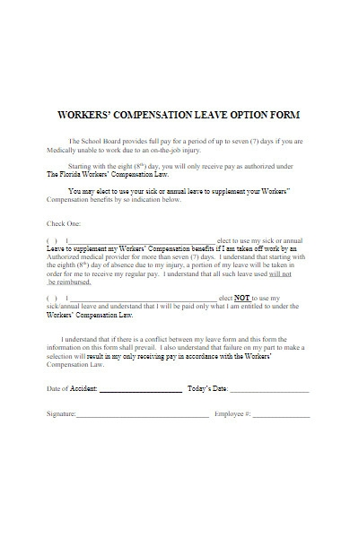 workers compensation leave option form
