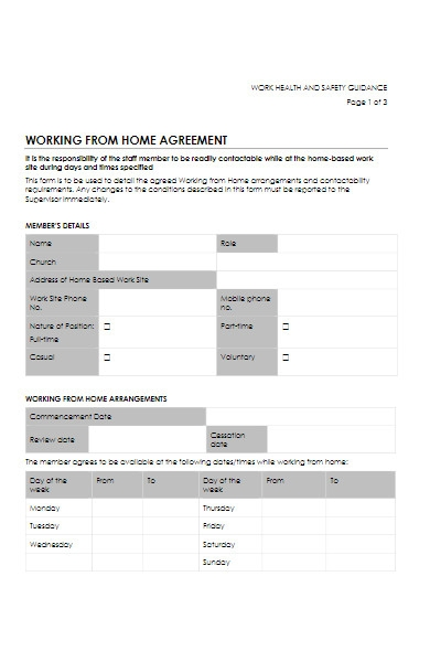 working from home agreement form