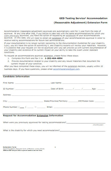 accommodation extension form