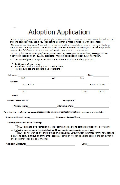 adoption application form for puppy