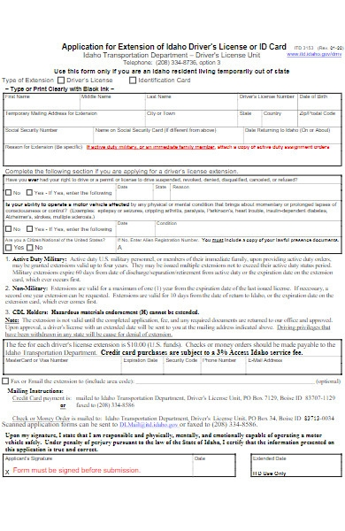 application form for extension of driver license