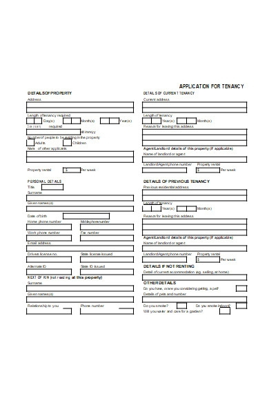 application form for tenancy