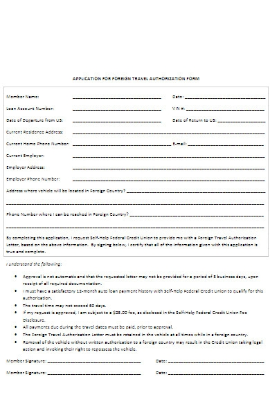 application for foreign travel authorization form