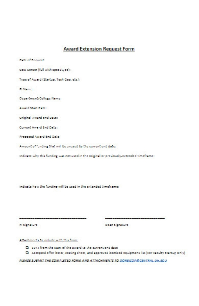 award extension request form