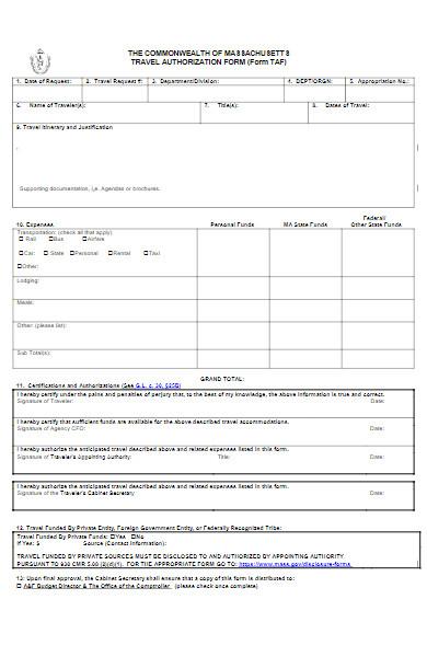 basic travel authorization form