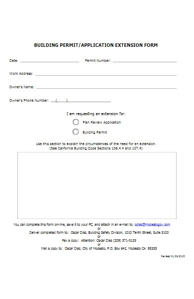 building permit extension application form