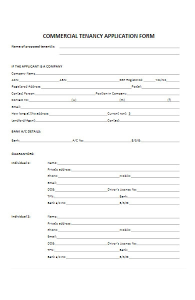 commercial tenancy application form