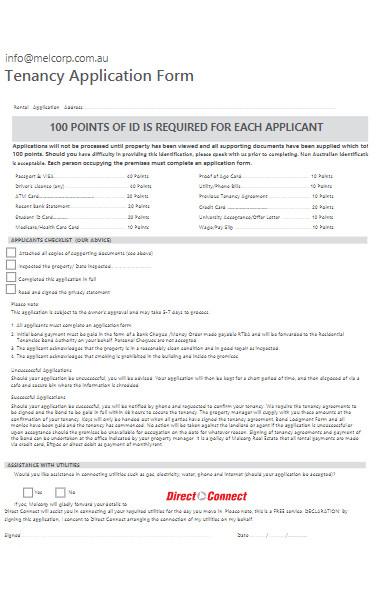 company tenancy application form