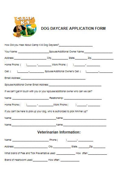 dog daycare application form