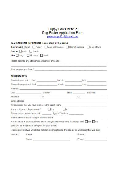 dog foster application form