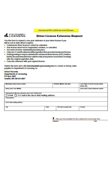 driver license extension request form