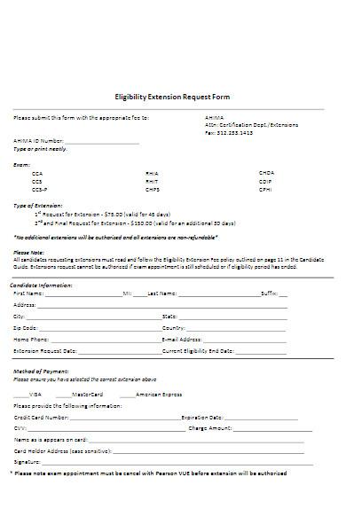 eligibiity extension request form