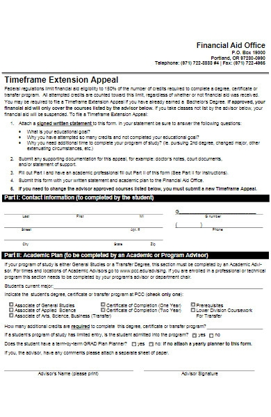 extension appeal form