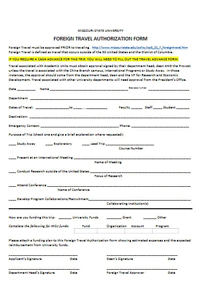 foreign travel authorization form