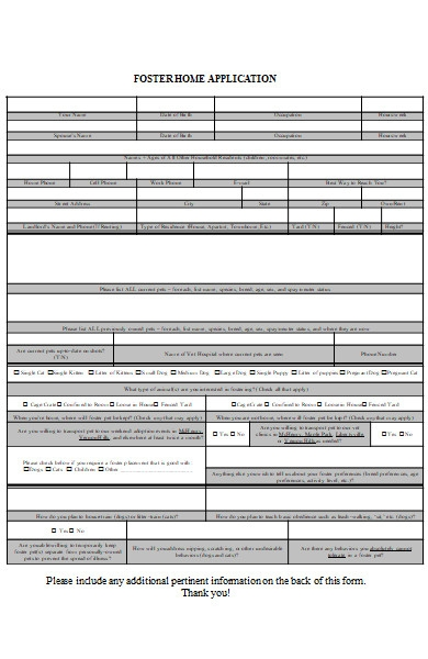 foster home application form
